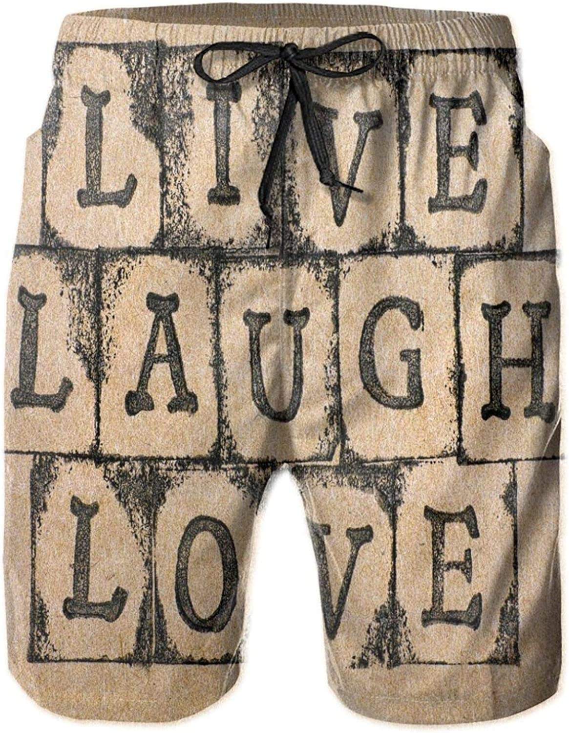 Black Alphabet Stamps On Aged Grungy Backdrop Vintage Print Mens Swim Trucks Shorts with Mesh Lining,M