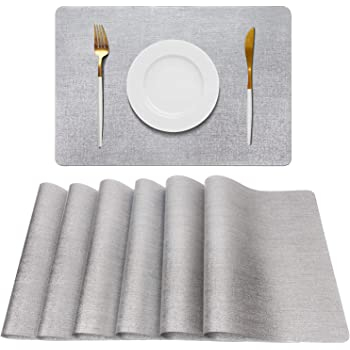 AIRCOWRIE Placemats for Dining Table Set of 6, Heat-Resistant Placemat Washable Vinyl Table Mats for Kitchen Restaurant (Silver)