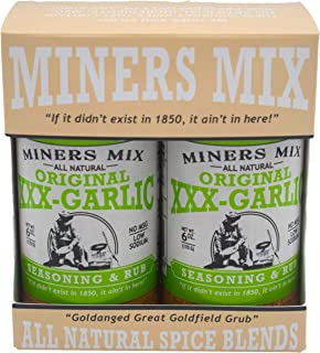 Miners Mix XXX Garlic Seasoning A Whole Lot More than Plain 'Ol Garlic Salt. For Oven Roasted, Grilled, BBQ, or Smoked Beef, Steaks, Pork, Lamb, and Vegetables. All Natural Low Salt No MSG 2 pk