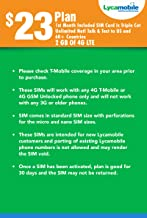 Lycamobile $23 Plan 1st Month Included SIM Card is Triple Cut Unlimited NATL Talk & Text to US and 75+ Countries 2GB of 4G LTE