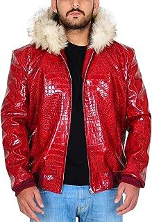 Men's Fur Hoodie Red Crocodile Pattern Leather Jacket