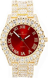Mens Gold Big Rocks Bezel Bloody-Red Dial with Roman Numerals Fully Iced Out Watch - Bloody Red/Gold - ST10327