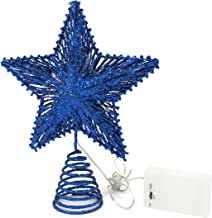 CVHOMEDECO. Blue Glittered 3D Tree Top Star with Warm White LED Lights and Timer for Christmas Ornaments and Holiday Seaso...