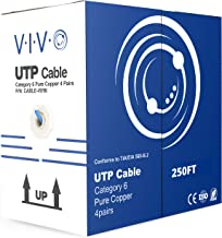 VIVO Blue 250ft Bulk Cat6, Full Copper Ethernet Cable, 23 AWG, UTP Pull Box | Cat-6 Wire, Indoor, Network Installations (CABLE-V016)