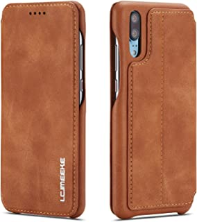 QLTYPRI Huawei P30 lite ケース 手帳型 スマホケース 高級PUレザー 手作り 薄型 スタンド機能 カード収納 多色 上品 耐衝撃 マグネット - 黄色