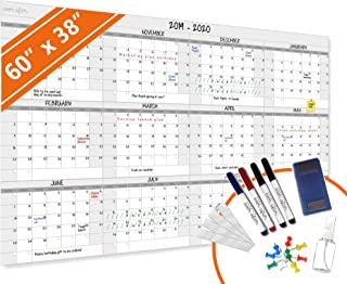 $49 » HEA Large Dry Erase Year Wall Calendar | Premium New Laminate | Blank Undated, Reusable & Erasable 12 Month 2020 Annual Planner | Classroom, Fiscal Year, Office, Project Schedule (60'' x 38'')