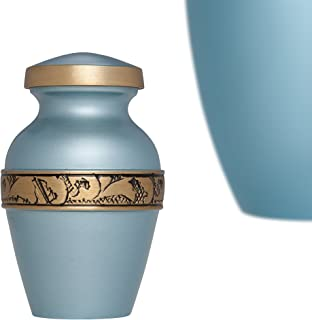 Blue Mini Keepsake Urn with engraved gold band • Miniature Funeral Cremation Urn fits Small Amount of Ashes • Vignoble Model • 3 inches Tall