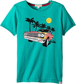 Vintage Lowrider Car with Palm Trees Graphic Short Sleeve Tee (Toddler/Little Kids/Big Kids)