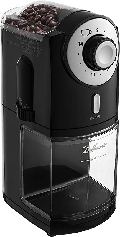 Top Rated Bellemain Burr Coffee Grinder With 17 Settings For Drip Percolator French Press And Turkish Coffee Makers Silver Black