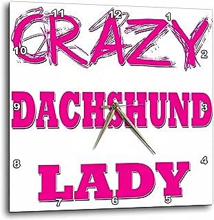 3dRose DPP_175009_1 Crazy Dachshund Lady Wall Clock, 10 by 10-Inch