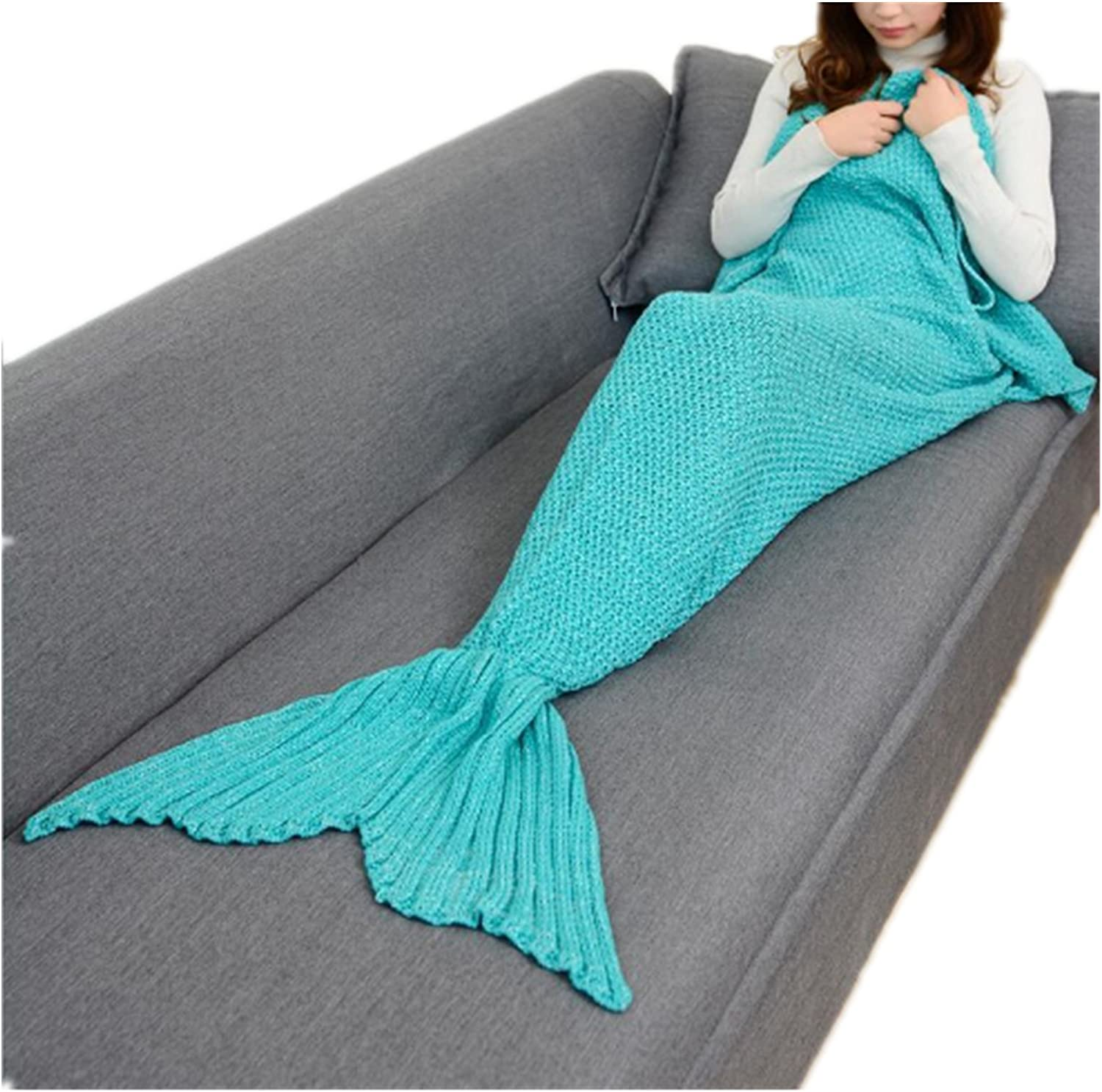 Primerry Present Mermaid Fish Tail Wool Knitted Sofa Blanket Crochet Quilt (Mint Green, 180X90 cmAdult)