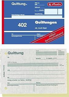 Herlitz 7876147 Quittungsblock A6 402 2x40 Blatt, 4er Packun