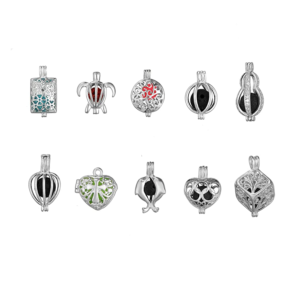 10pcs Mix Style Cube Tortoise Shape Silver Plated Bead Cage Locket Pendant - Add Your Own Stones, Rock to Cage,Add Perfume and Essential Oils to Create a Scent Diffusing Pendant Charms