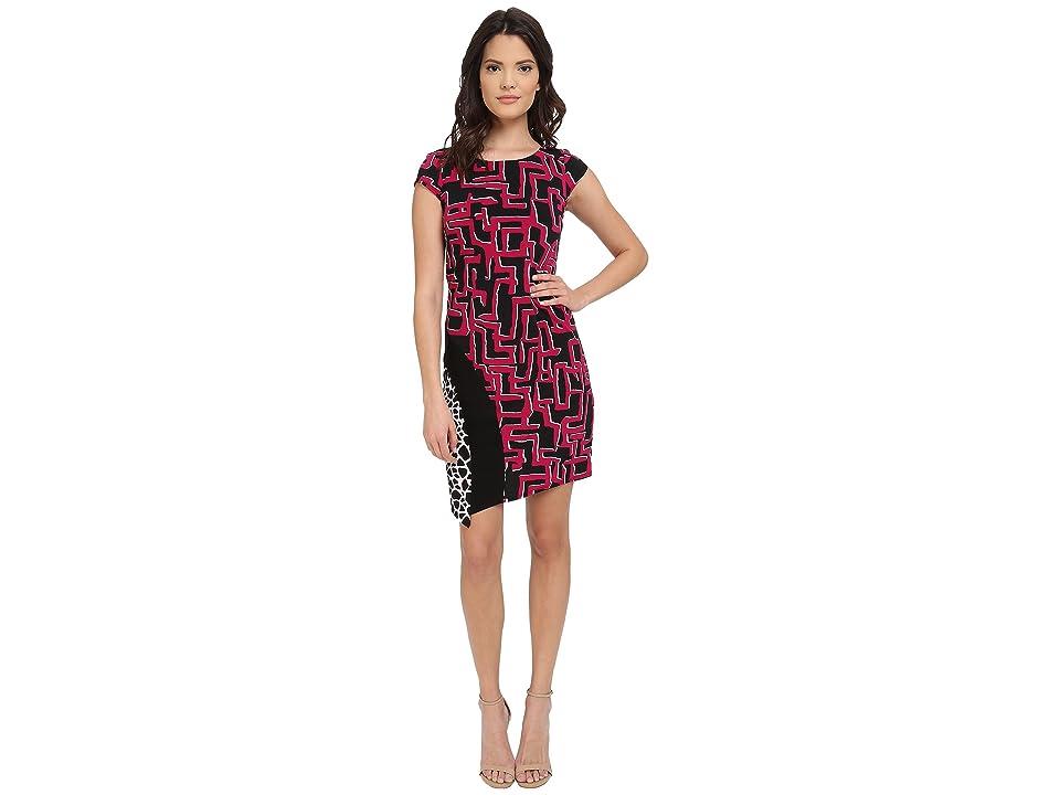 Laundry by Shelli Segal Print Matte Jersey T-Body Dress with Seaming (Vivid Pink) Women