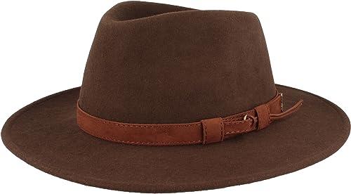 Hut Breiter Sombrero de Fieltro | Sombrero Fedora | Sombrero de Lana | 100% Lana de Fieltro – Resistente al Agua - En...