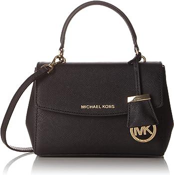 Michael Kors Womens Ava Saffiano Leather Crossbody Bag (Black)