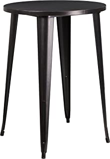 Flash Furniture 30'' Round Black-Antique Gold Metal Indoor-Outdoor Bar Height Table