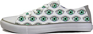 Rivir Latest & Stylish Printed Canvas High Top Sneakers Shoes for Men & Women White