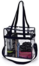 Clear Tote Bag Stadium Approved - Shoulder Straps and Zippered Top. Perfect Clear Bag for Work, School, Sports Games and C...
