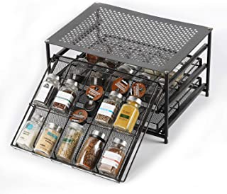 Spice Rack Organizer for Cabinets Storage, Pull Out Spice Drawer Kitchen Organization Containers for 30-60 Glass Bottle, Slide Out Cabinet for Pantry, Makeup, Nail Polish, Medicine, Dark Brown