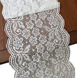 LaceRealm 7 Inch Wide Floral Stretchy Lace Elastic Trim Fabric for Garment & DIY Craft Supply- 5 Yard (7019 White)