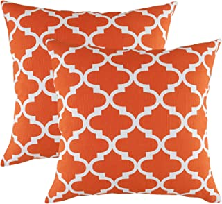 TreeWool Decorative Square Throw Pillowcases Set Trellis Accent 100% Cotton Cushion Cases Pillow Covers (16 x 16 Inches / 40 x 40 cm; California Orange & White) - Pack of 2