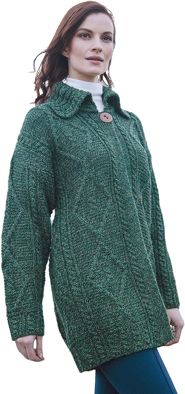 Carraig Donn Ladies Single Button Layered Wool Jacket Green