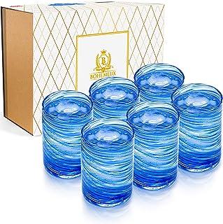 Set de 6 verres de Cristal soufflés à la main en spirale bleue 350ml, 11cm de haut et 8cm de large pour offrir en cadeau à...