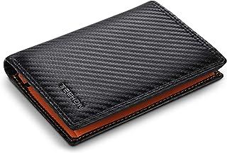 TEEHON® Portafoglio Uomo RFID Blocking Pelle Carbonio con 11 Porta Carte di Credito, 2 Finestra ID, Portamonete Cerniera, ...