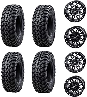 Bundle Package- Four 30x10-14 TUSK TERRABITE Tires on Four TUSK CASCADE wheels - Quantity of 4-4/156 Bolt Pattern - Fits: ...