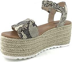 AMS Women's Espadrille Ankle Strap Buckle Adjustable Wedge Platform Sandals Peep Toe Summer Shoes