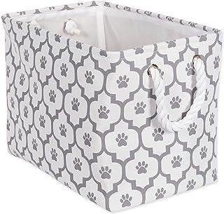 "Bone Dry Paw Print Collapsible Polyester Pet Storage Bin, Rectangle Medium - 16 x 10 x 12"", Lattice Gray"