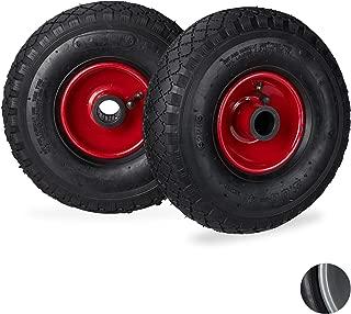 Relaxdays Sack Truck Wheel Set of 2 3.00-4 Pneumatic Complete Wheel with Steel Rim 25 mm Axle Diameter Black/Red