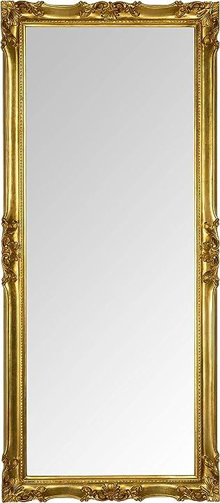 Specchio da parete classico stile francese finitura foglia oro fatta a mano. misura esterna cm. 62x142 mo.wa B08LNV14MC