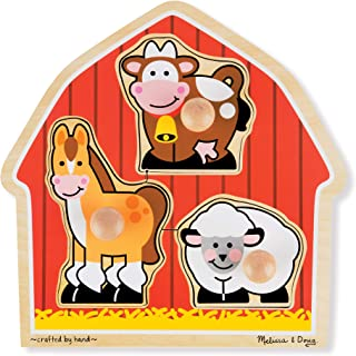 Melissa & Doug Barnyard Animals Jumbo Knob Wooden Puzzle - Horse, Cow, and Sheep