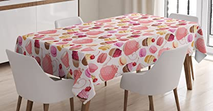 Ambesonne Kitchen Tablecloth, Teaparty with Cupcakes Macarons Teapot and Cups Cherries Berries Polka Dots, Dining Room Kitchen Rectangular Table Cover, 52W X 70L inches, Pink Cream Brown