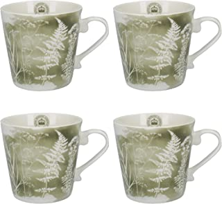 Royal Botanic Gardens, Kew 'Watercolour Meadow' Conical Floral-Printed Fine China Mugs, 350 ml (12.5 fl oz) - Sage Green (Set of 4)