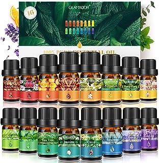 Huiles Essentielles-GLAMADOR Set de 16 Huiles Essentielles pour Diffuseur Pures et Naturelles-Aromathérapie Humidificateur...