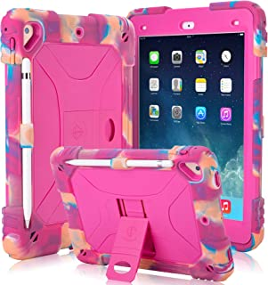Kids Case for iPad 9.7 2018/2017 Case Heavy Duty with Apple Pencil Holder & Kickstand Full Body Protective Hybrid Silicone Cover Shockproof for iPad 9.7 5th / 6th Generation (Camo/Pink)