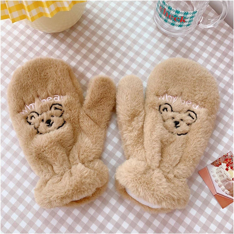 Jiaye Gloves 1pair Women Winter Soft Cashmere Gloves Cartoon Bear Plush Warm Mittens Female Cute Full Fingers Gloves for Girl (Color : Dark Brown)