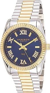 Akribos Italian Designed Stainless Steel Bracelet Watch - Sunray Dial Ridged Bezel Mens Wristwatch- Beautiful Gift Box - AK1034