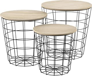 Set de 3X Cestas de Metal con bandejas extraíbles Mesa Baja Mesa Auxiliar para Almacenar Mesas de té y café Mesas de Centr...