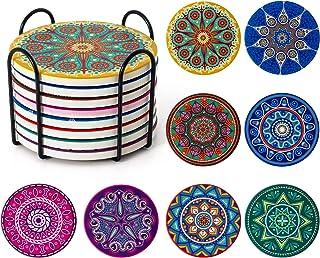 Posavasos para bebidas, Posavasos absorbentes con soporte, Posavasos de cerámica Mandala con corcho, Regalo de inauguración Posavasos de piedra Set de 8 (Multicolor2)