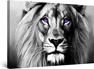 STARTONIGHT Canvas Wall Art Black and White Abstract Lion Serenity Animal Ruler, Framed Wall Art 32 x 48 Inches