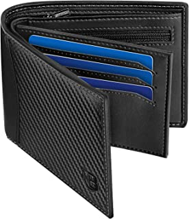 Mens Wallet, BIAL RFID Blocking Wallet Bifold Leather Wallets Mens, Slim Wallet with ID Window Zip Coin Pocket 9 Card Hold...