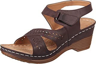 XE Looks Doctor Sole Comfortable Wedges Sandals for Women (Brown/Cream)