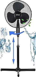 Ventilador de pie de 41 cm de diámetro, 40 W, 3 niveles, funcionamiento silencioso, con rotación de 180°, ventilador de torre y ventilador, altura regulable