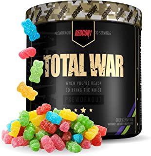 Redcon1 Total War - Pre Workout Powder, 30 Servings, (Sour Gummy) Boost Energy, Increase Endurance and Focus, Beta-Alanine...