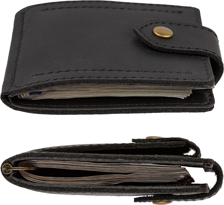 Mens Leather Wallet with Money Clip Coin Pocket - Slim Bifold RFID Blocking - Genuine Thin Minimalist - Gift Idea