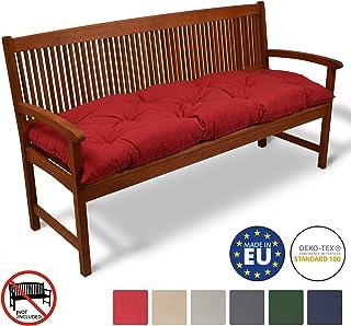 Beautissu Cojines para Bancos Flair BK 150x50x10 cm Cómodo Acolchado Banco de jardín/Columpio Hollywood Rojo